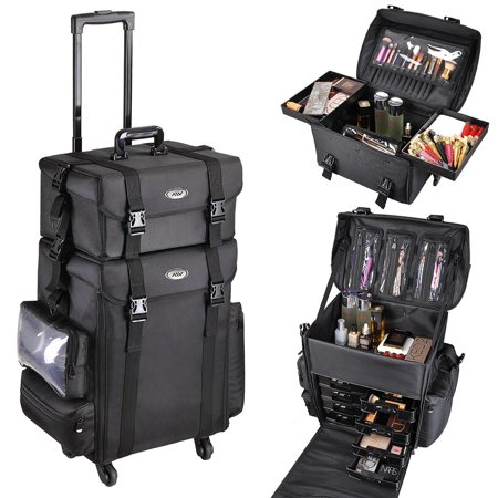 AW Pro Soft Rolling Makeup Case on Wheels 2in1 Multifunction Cosmetic Train Bag Artist (The Best Makeup Train Case)