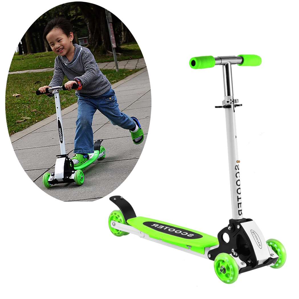 Adjustable T-Bar 3 Wheels Age 2 Up Kids Kick Scooter Micro Mini Foldable Adjustable Toddler Push Fun Exercise Toys Scooter for Boys Girls Children Kids WSY