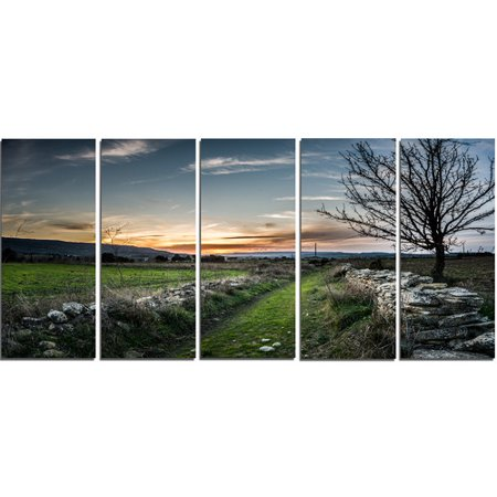 Design Art 'Rocky Fences in Green Grassland' 5 Piece Photographic Print on Wrapped Canvas