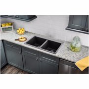 "Cahaba CA344133-B Quartz 50/50 Topmount / Drop In Double Bowl Kitchen Sink, 33"" x 22"" with Twist and Lock Straine"