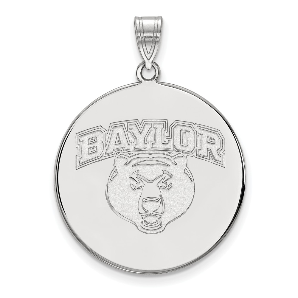 White Sterling Silver Charm Pendant Texas NCAA Baylor University 32 mm 25