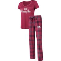 Mississippi State Bulldogs Concepts Sport Women's Troupe V-Neck T-Shirt & Flannel Pants Sleep Set - Maroon/Black
