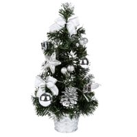 """ZEDWELL 15.8"""" Tall Battery Powered Luxury Tabletop Christmas Tree Hanging Decorations Pine Tree - Silver (Battery Not Included)"""