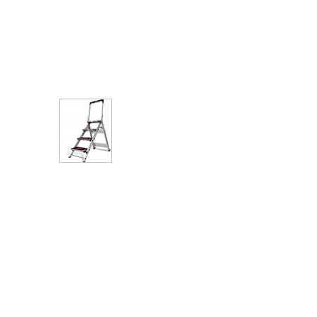 Little Giant Ladder Systems 10410BA Safety Step Ladder Four Step with Bar, 2 x 11-Inch Bar Little Jumbo Safety Step