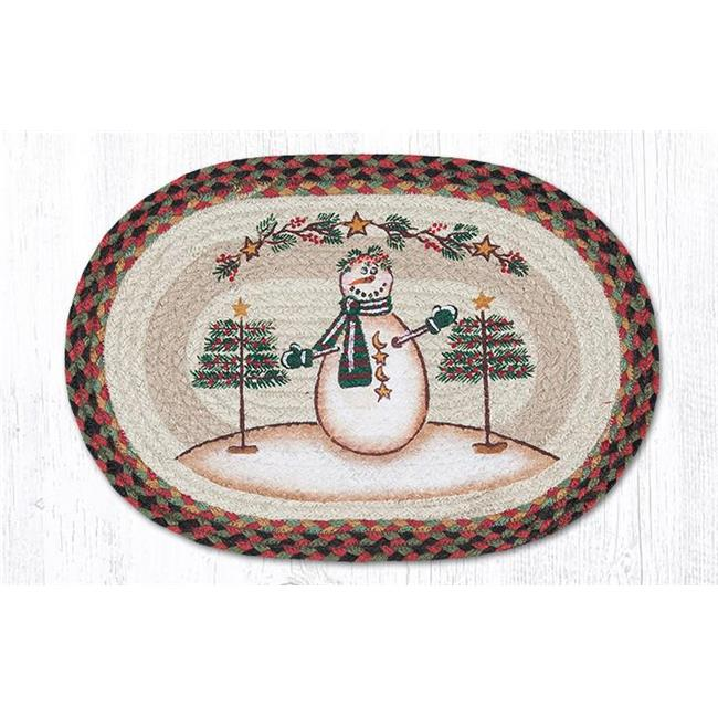 Capitol Importing 48-081MSS 13 x 19 in. Moon & Star Snowman Printed Oval Placemat