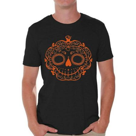 Funny Halloween Pumpkin Designs (Awkward Styles Halloween Shirts for Men Funny Sugar Pumpkin Trick or Treating Shirt Orange Pumpkin Halloween Design Spooky Halloween)