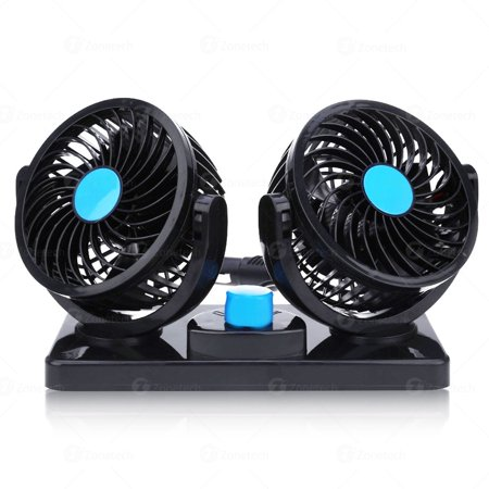 Zone Tech 12V Dual Head Car Auto Cooling Air Fan - Powerful Quiet 2 Speed Rotatable 12V Ventilation Dashboard Electric Fans with Kids Safe (Ventilation Accessories)