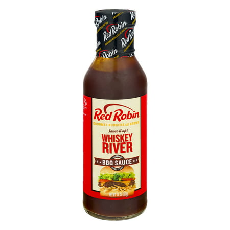 (2 Pack) Red Robin BBQ Sauce Whiskey River, 14.0 OZ Whiskey Grilling Sauce