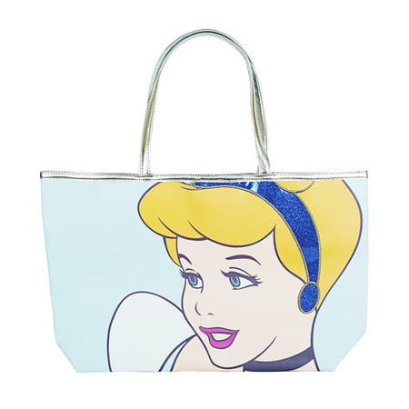 Disney Cinderella Blue Glitter Tote Handbag for Women - Disney Totes
