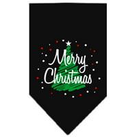 Scribble Merry Christmas Screen Print Bandana Black Large