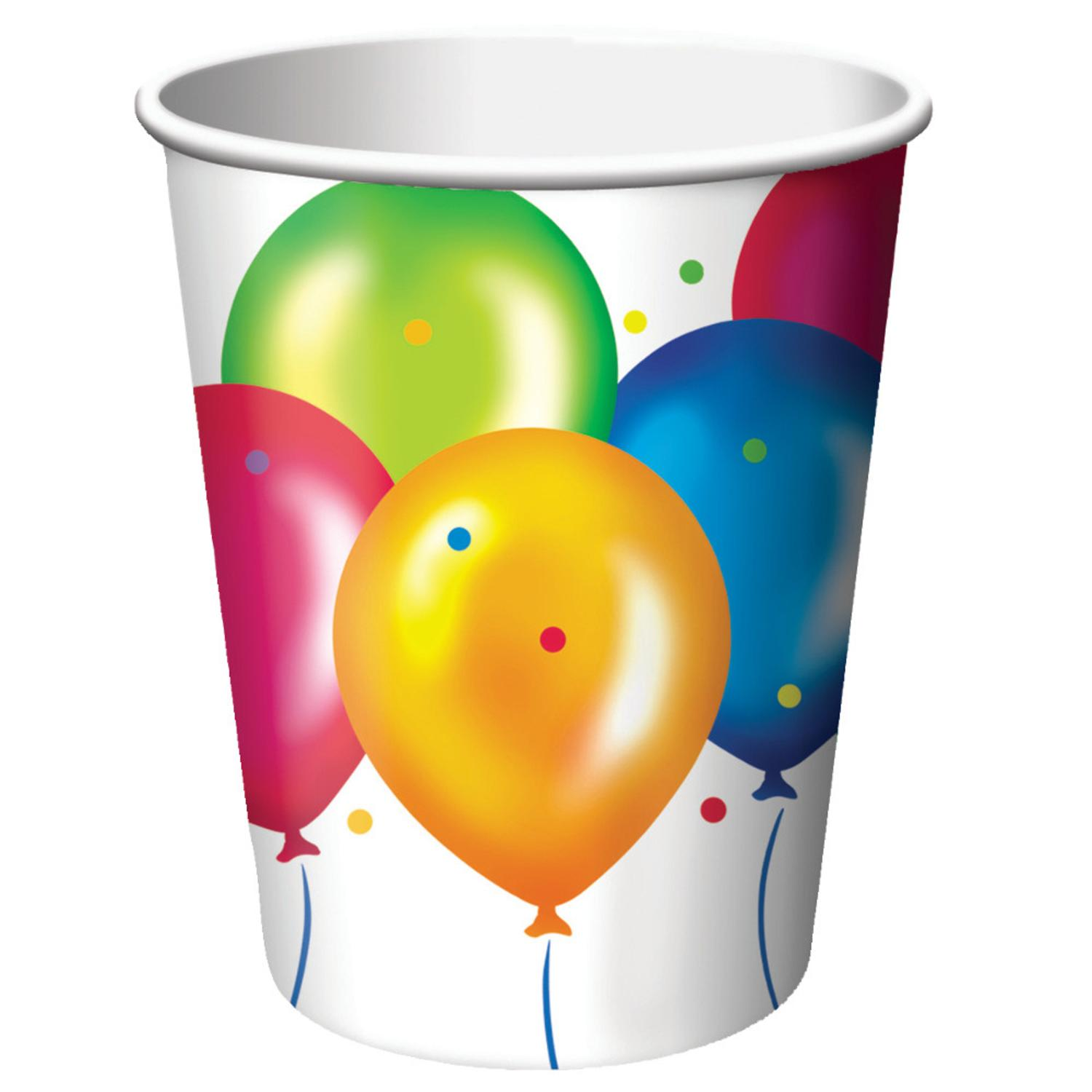 Club Pack of 96 Birthday Balloons Disposable Paper Hot and Cold Drinking Party Cups 9 oz.
