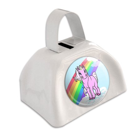 Unicorn Pony Rainbow Pink White Cowbell Cow Bell (Pink Cowbell)
