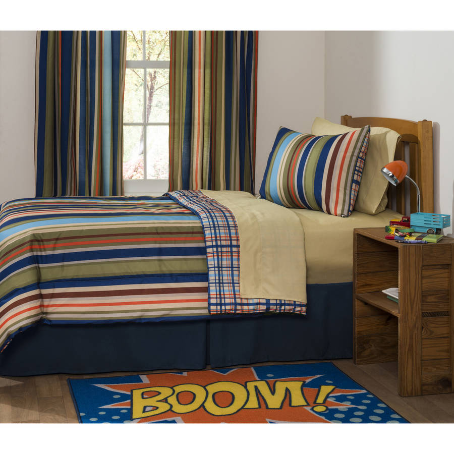 Mainstays Kids Rally Stripe Bed in a Bag Bedding Set