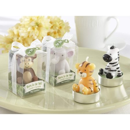 Kate Aspen Born to be Wild Animals Tea Light Candles - Guest Gift, Party Favor or Decorations for Weddings, Bridal Showers, Baby Showers & More - Assorted (6 Sets of 4, 24 pcs) Decorating Bridal Shower