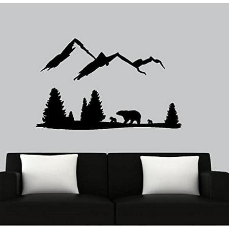 BEAR Mountain Scene ~ Wall or Window Decal (Black) - Christmas Wall Scenes