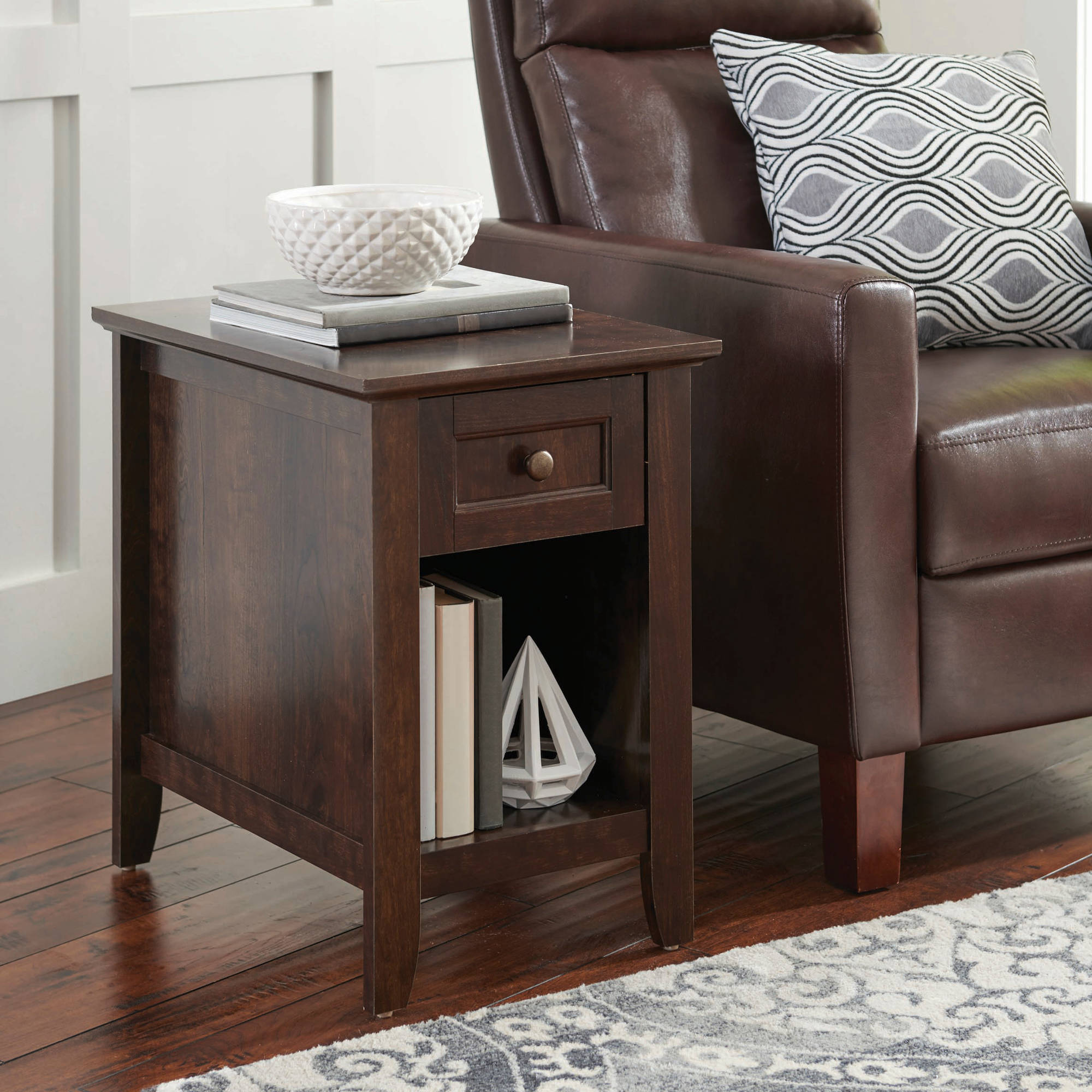 Better Homes and Gardens Parker Recliner Side Table  Estate Toffee Finish. End Tables   Walmart com