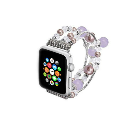 Jeweled Replacement - Jeweled Replacement Band for Apple Watch Series 1,2,&3-Silver and Purple 38MM
