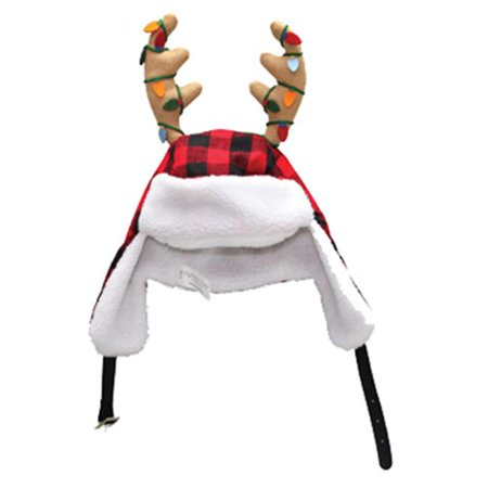 0408937-1CC 17 in. Plush Santa Hat, Red-Black Plaid With Ear Flaps & Antlers (Antler Hat)