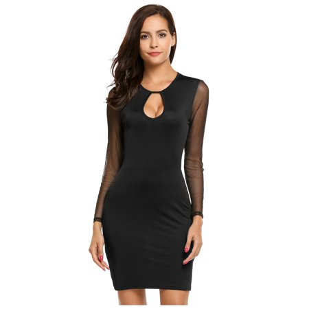 Women Sexy Long Sleeve Mesh Patchwork Water-drop Cutout O Neck Evening Club Pencil Dress HFON