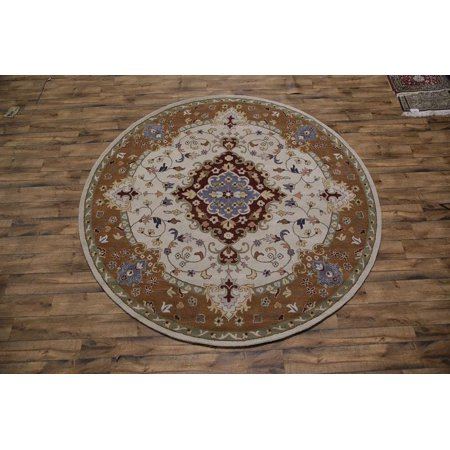 Rugsource Ivory Round 10 ft Hand Tufted Oushak Indian Traditional Oriental Area Rug (10