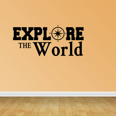 Explore the World Compass Decal Home Decor Travel Vacation Decor Vinyl Decals Stickers Quotes PC287