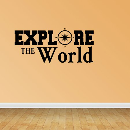 - Explore the World Compass Decal Home Decor Travel Vacation Decor Vinyl Decals Stickers Quotes PC287