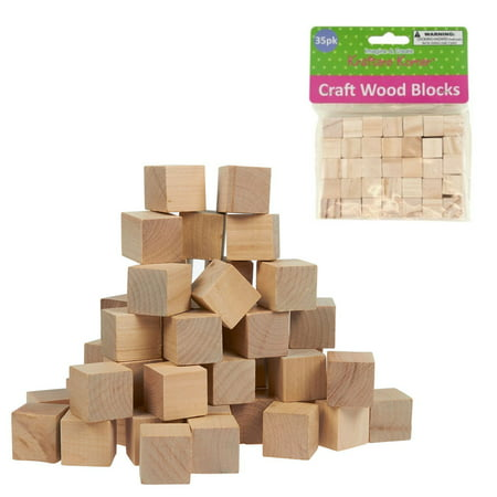 35 Natural Wooden Craft Blocks Unfinished Hardwood Wood Blocks Square 0.6
