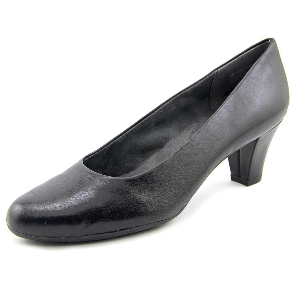 Aerosoles Shore Thing Women Round Toe Leather Black Heels by Aerosoles