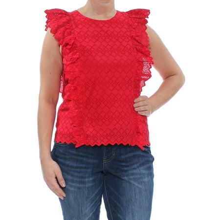 RALPH LAUREN Womens Red Eyelet Ruffled Jewel Neck Top Size: M