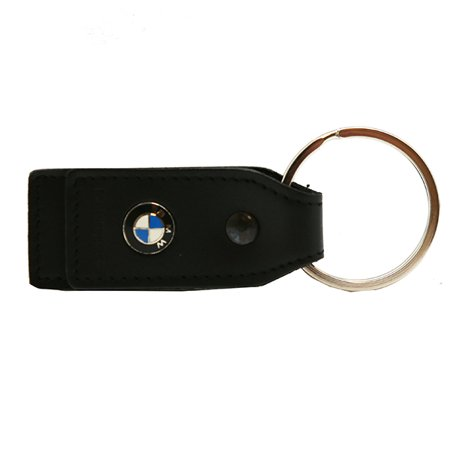 Leather Keychain Ring - Genuine BMW Motorcycle Leather Everyday Key Chain with Silver Metal Ring - Black
