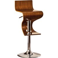 Modern Sleek Bentwood Walnut Oak Finish Contemporary Style Adjustable Swivel Bar Stool with Curved Seat and Back