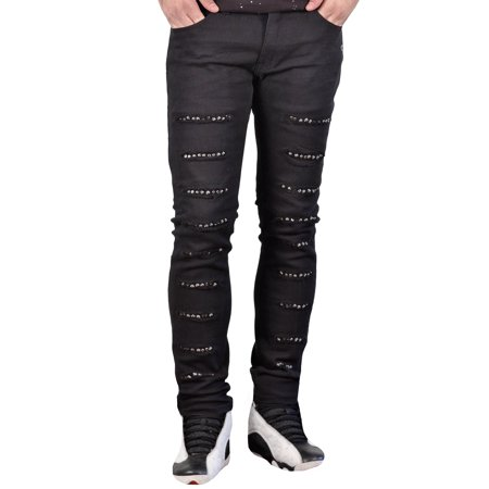 Stretch Skinny Fit Jeans with Rips and Studs