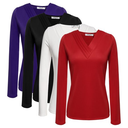 Plus Size 80s Fashion (Plus Size Women's Long Sleeve Fashion Polyester V-Neck Basic Top T-Shirt)
