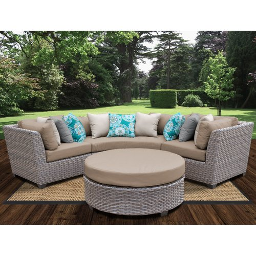 TK Classics Florence Outdoor Wicker 4 Piece Deep Seating Group with Cushion