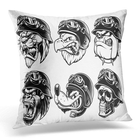 CMFUN Black Angry of Animals Bikers Design Motorcycle Riders Sport Mascots White Skull Pillow Cover 16x16 Inches Throw Pillow Case Cushion Cover