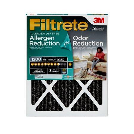 Filtrete 16x25x1, Allergen Plus Odor Reduction HVAC Furnace Air Filter, 1200 MPR, 1 Filter