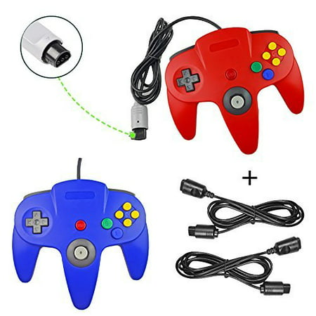 Lot Of 2 Classic Retro Wired Gamepad Controllers With 2 X 6FT Extension Cables For Nintendo 64 N64