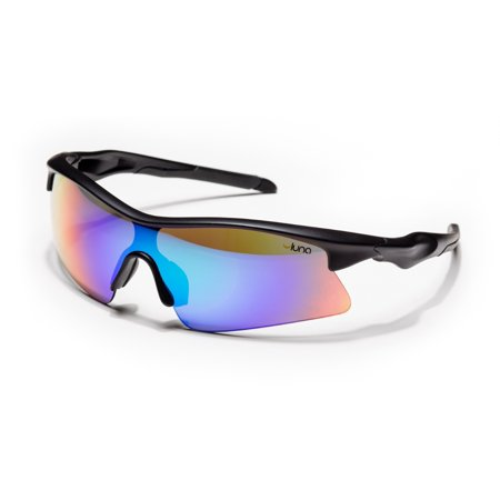 Luna Eclipse Running Cycling Sunglasses with Hard Protective Case (Aquamarine Revo Lenses, Black (Luenx Sunglasses)