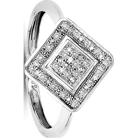 Sterling Silver Rhodium Diamond Ring - image 2 of 2