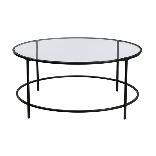 Buy Black Glass And Metal Circular Coffee Table From: Sauder Soft Modern Collection Coffee Table, Black