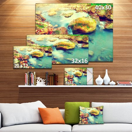Mountain River with Stones - Large Seashore Canvas Wall Art - image 2 of 4