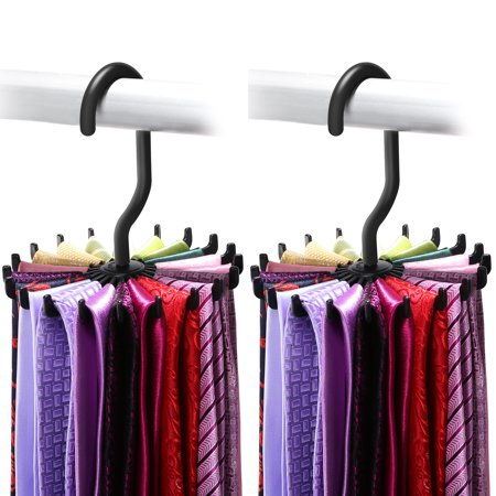 Tie Rack, IPOW Belt Rack Hanger Ties Organizer Holder for Mens Closets, 2 Pack,