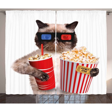 Movie Theater Curtains 2 Panels Set, Cat with Popcorn and Drink Watching Movie Glasses Entertainment Cinema Fun, Window Drapes for Living Room Bedroom, 108W X 63L Inches, Multicolor, by Ambesonne