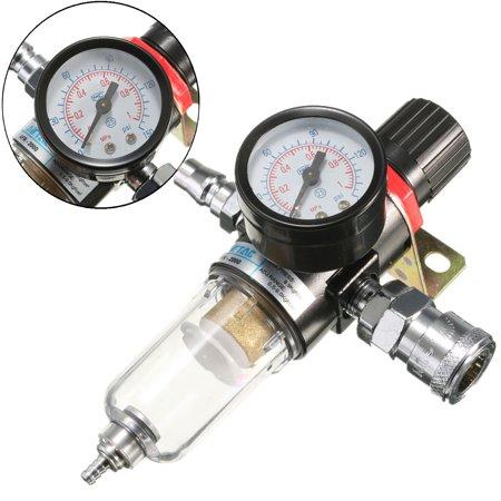 - 130PSI 1/4 BSP 26CFM Air Compressor Filter Moisture Water Trap Filter Separator Pressure Regulator Gauge Tools (Psi & MPa Display)