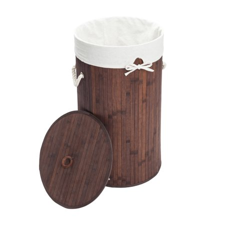Zimtown Bamboo Laundry Hamper Basket Wicker Clothes Storage Bag Sorter Bin Organizer Lid ()