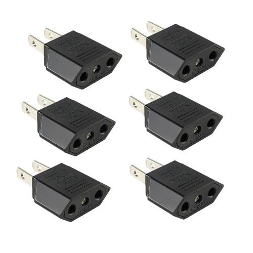 Insten 6X Euro EU to US USA Travel Adapter Power Converter AC Wall Plug (6-pack Bundle Set)