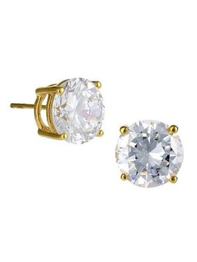 Crislu Stud Earrings, Gold Plated (6.00 cttw)