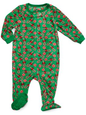 leveret footed fleece sleeper candy cane 12-18 m