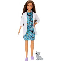 Barbie Pet Vet Brunette Doll With Medical Coat, Dress and Kitty Patient