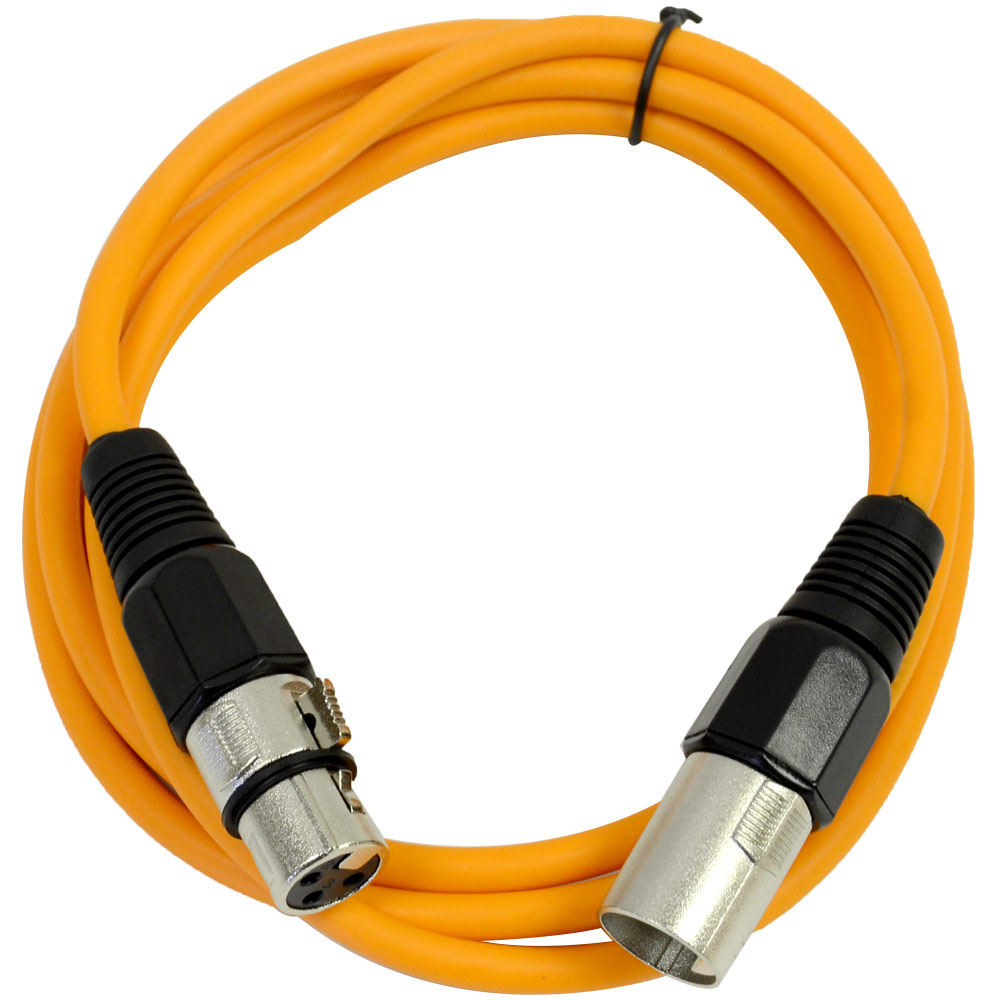 Seismic Audio  Orange 6' XLR Patch Cable  Snake Mic Cord Orange - SAXLX-6Orange